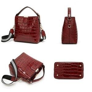 Image 3 - Diinovivo retro jacaré padrão balde bolsa feminina sacos de couro patente para as mulheres bolsa pequena bolsa de ombro carteira whdv1157