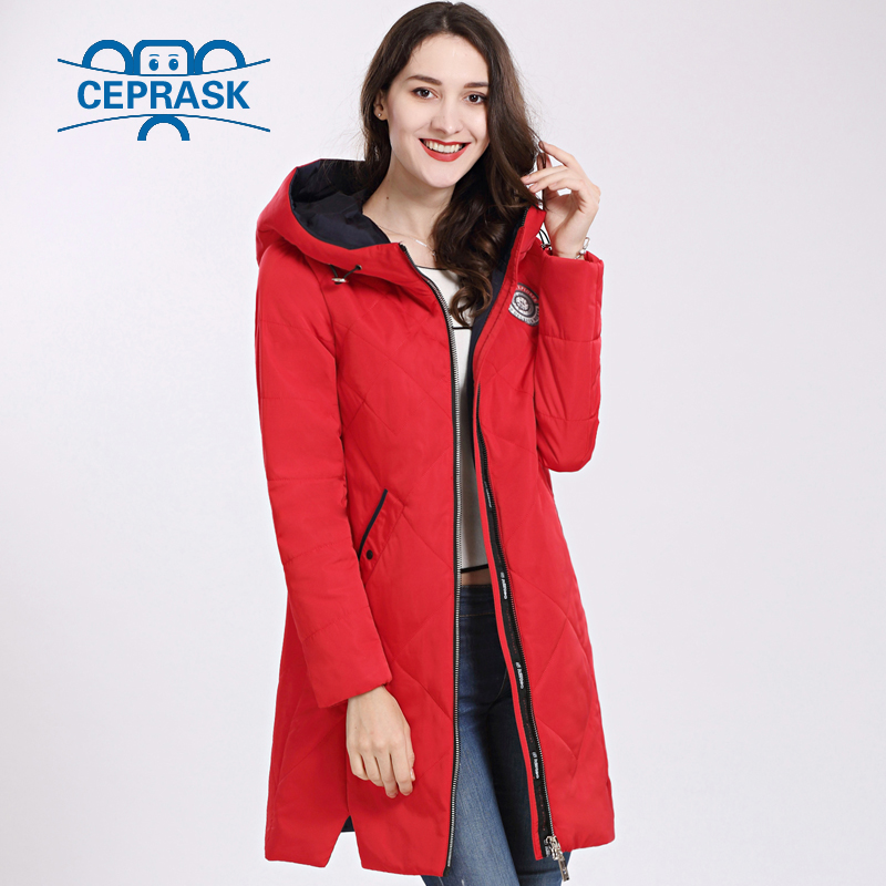 Women's Coat Spring Autum 2019 Hot sale Thin Cotton   Parka   Long Plus Size Hood Women Jacket New Designs Fashion CEPRASK