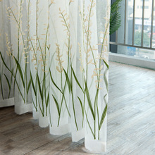 Modern Plant Embroidered White Sheer Curtains for Living Room Bedroom Kitchen Tulle Kids Baby Door Window