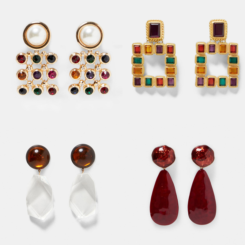 Girlgo New Brand ZA Colorful Crystal Dangle Drop Earrings Women Fashion Maxi Statement Earrings Long Resin Pendant Party Jewelry