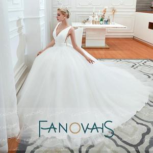 Image 2 - Fanovais Tulle V Neck Simple Elegant Ruffles Vintage Bridal Wedding Dresses Bridal Gowns Vestido de Novia robe de mariee