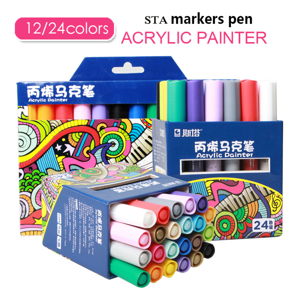 STA 12/24 Colors Acrylic Paint Marker Sketch Stationery Set For DIY Manga Drawing Marker Pen School Student Painter Supplies sta 12 24 colors brush pen set water based ink twin tip watercolor markers pen drawing for manga school art supplies rotulador