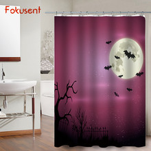 FOKUSENT Halloween Shower Curtain Horror Night Of The Woods Cemetery Witch Bats Moon Polyester Fabric Curtains