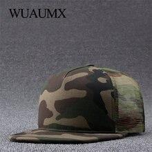 Wuaumx 2018 nuevo camuflaje Snapback gorras con malla Hip Hop sombrero  mujeres hombres Cap neta del verano gorras de béisbol pla. 284c3ed3f90