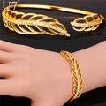 U7 cuff bracelet para as mulheres de jóias por atacado nova moda ródio/banhado a ouro padrão de folha de cristal pulseira h805