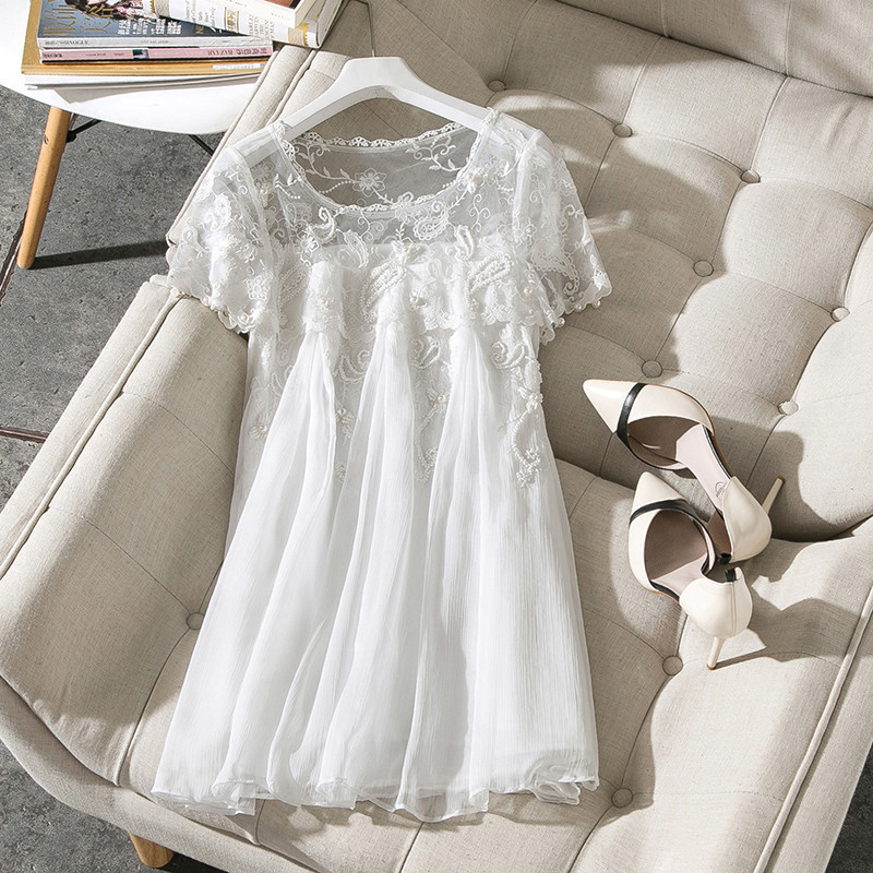 New 2018 summer fashion women sexy sheer dress floral embroidery loose cute beading korean style chiffon dresses white blue kiind of new blue women s xl geometric printed sheer cropped blouse $49 016