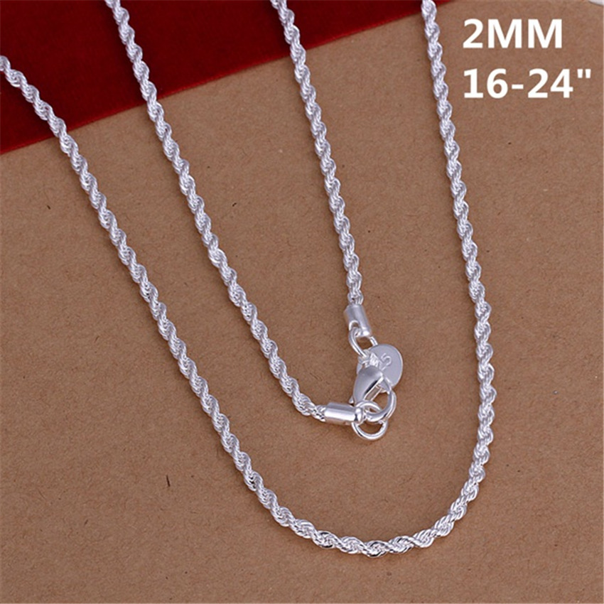 16-24INCHES Free shipping Beautiful fashion Elegant silver color women men 2MM chain cute Rope Necklace Can for pendant N226 1