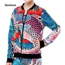 Qickitout Новинка года, китайский стиль, татуировка карпа, индивидуальный стиль, принт, свитер, Женская быстросохнущая футболка для йоги женские модные жакеты
