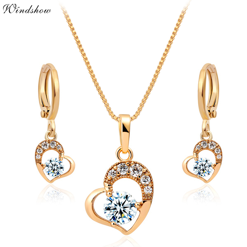 Cute Yellow Gold Color Love Heart Pave Zircon Pendant Necklace