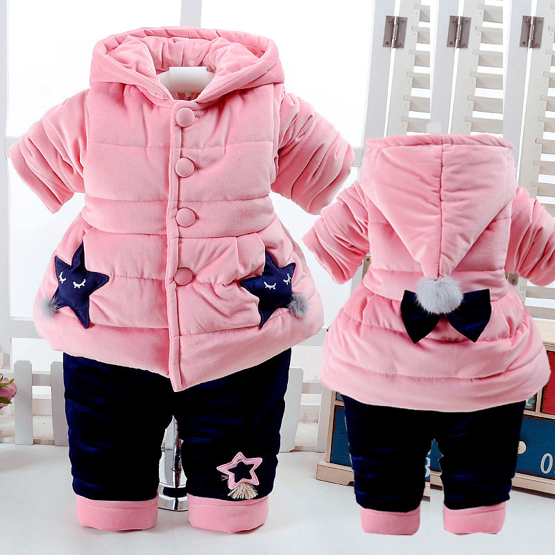 Children Girls Winter Thick Warm Cotton Clothing Suit Long Sleeve Shirt Jacket With Hat Fashion Stars Pattern Kids Clothes Sets sky blue cloud removable hat in the long section of cotton clothing 2017 winter new woman
