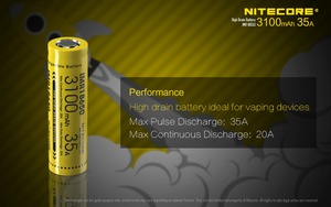 Image 2 - 1pcs original Nitecore IMR18650 IMR 18650 3100mAh 35A 3.7v batteries High Drain Rechargeable Battery Ideal for Vaping Devices