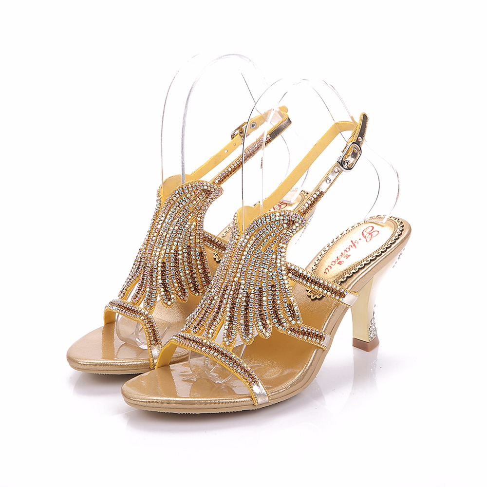 2017 Summer Fashion Girl Golden Wing Genuine Leather Rhinestone High Heels Women Crystal Sandals Peep Toe Woman Wedding Shoes