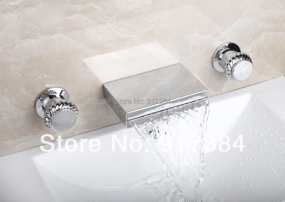 ФОТО New Waterfall  Ceramic  Double Handles Deck Mounted Bathroom Bathtub Basin Sink Mixer Tap 3 pcs Chrome Faucet Set FG-3123