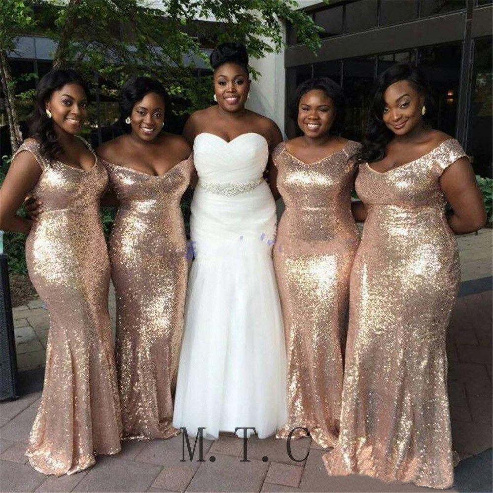 Bling Sequins   Bridesmaid     Dresses   Floor Length Off The Shoulder Mermaid Wedding Party   Dress   2019 Custom Made Maid Of Honor Gowns