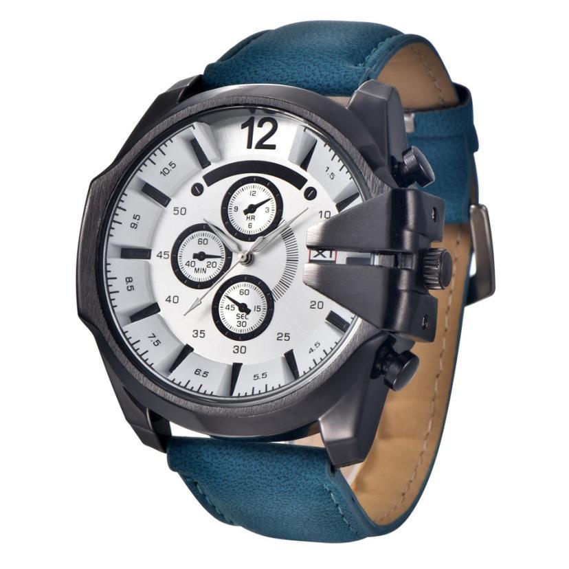 Watch Men Analog Steel Case Display Date Leather Brand Sport Quartz Wrist Watch Luxury Clock Relogio Masculino Vintage