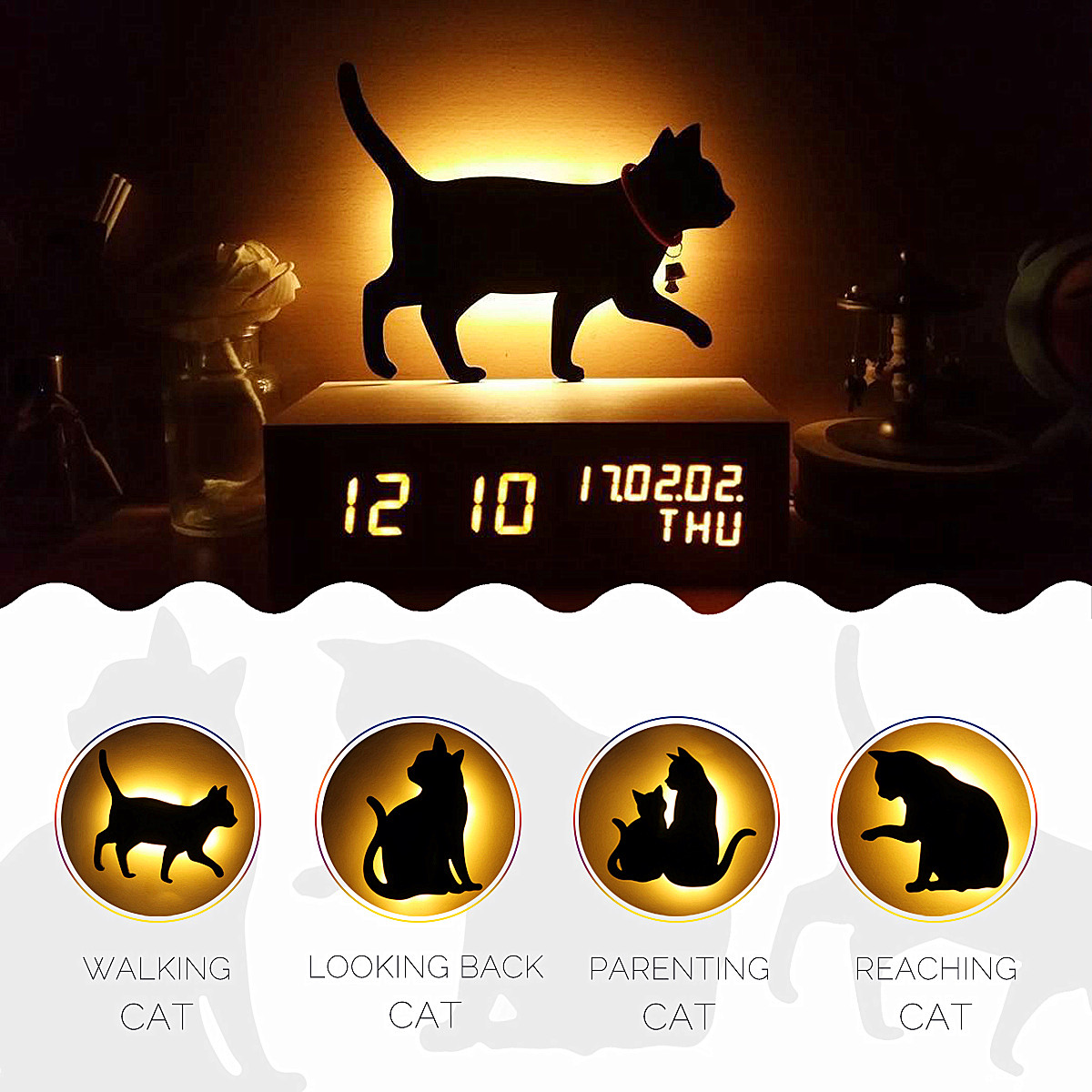 LED Motion Sensor Control Smart Sound/Light Auto Warn White Night Light Home Corridor Balcony Baby Kids Cute Cat Sleep Lamp bowknot cat style keychain w white led light sound effect grey pink 3 x ag10