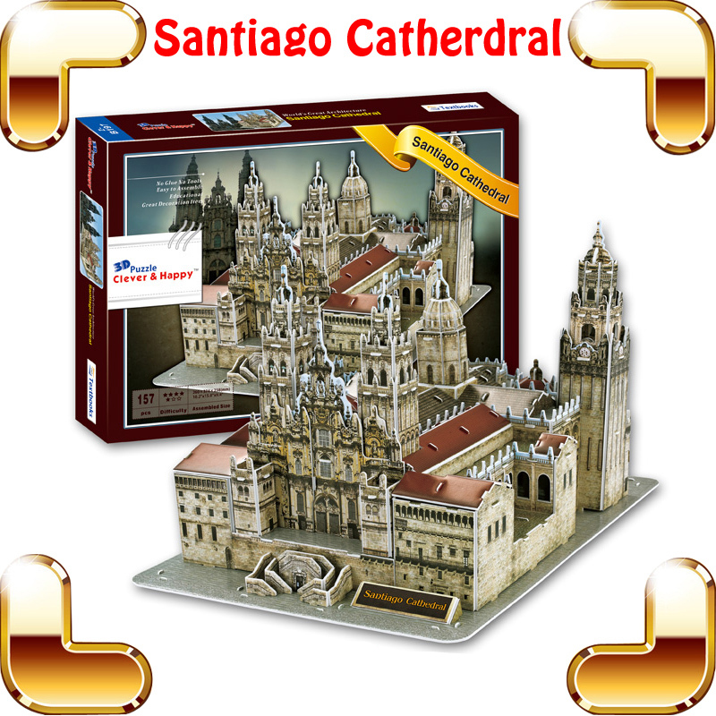 New Coming Gift Santiago Cathedral 3D Puzzle Building Church Model Puzzle Game DIY Decoration Believer Present PUZ Toys IQ Item new arrival gift kizhi church model metal collection diy assemble game toys for family children adult iq educational alloy item
