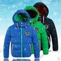 Infantil Roupas de Inverno 2016 Meninos Moda Casacos & Coats Cotton-padded jacket Com Capuz Além de Veludo Engrossar Jaquetas Para meninos
