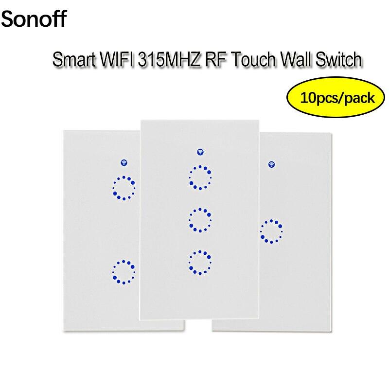 10 pcs Sonoff T1 NOUS 1/2/3 Gang Smart Wifi Mur Interrupteur/WiFi/315RF /APP Télécommande Mur Tactile Interrupteur Marche avec Alexa Maison Intelligente
