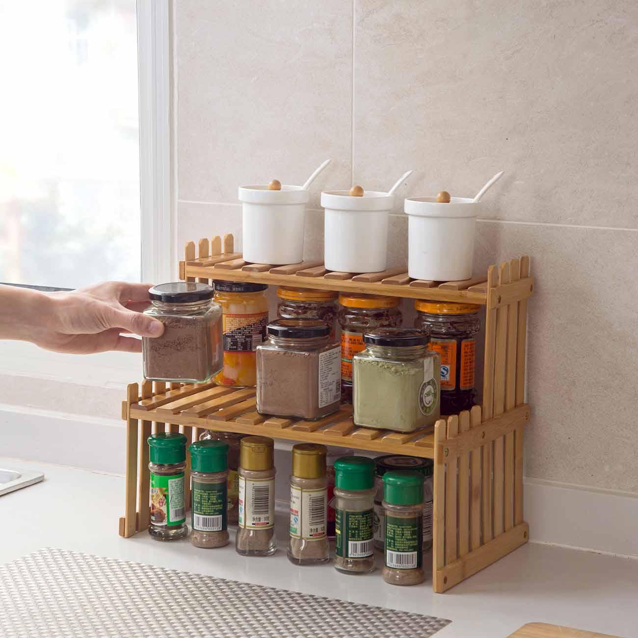 2 camadas de bambu rack armazenamento cozinha spice jar garrafa tempero rack decoração organizador prateleira casa prateleiras desktop|Racks e suportes de armazenamento| |  - title=