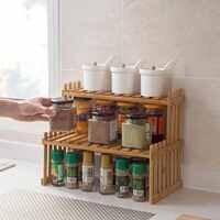2 schichten Bambus Lagerung Rack Küche Gewürz Glas Flasche Gewürz Rack Dekoration Organizer Regal Hause Desktop Racks