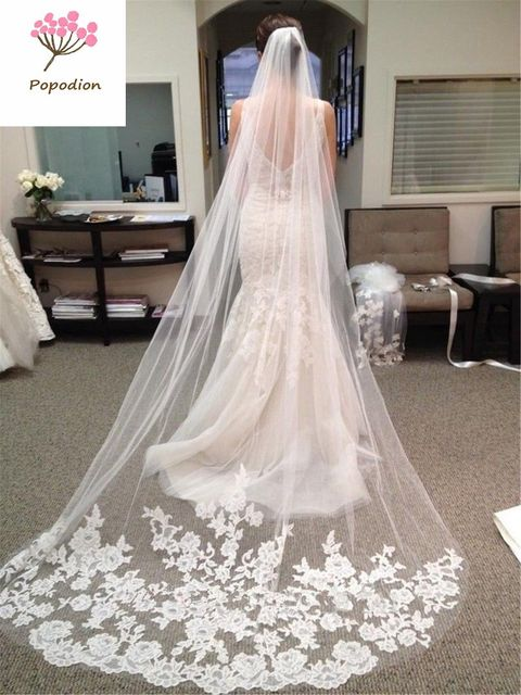 Lace Wedding Long Veil White 3 Meters With Comb Bridal Veils Mesh For