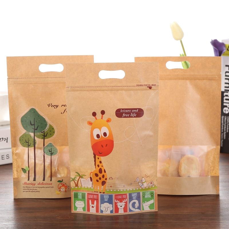 20pcs Kraft Paper Bag For Gifts Food Cookie Brown Zip Lock Gift Paper Bags For Wedding Cartoon Giraffe Candy Bags Party Favors