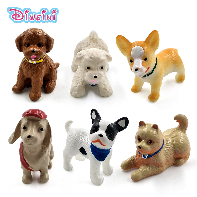 1pc Playing <font><b>Dog</b></font> Miniature Figurine Lifelike cartoon Puppy Figures animal food model Pet toy DIY <font><b>Accessories</b></font> Doll House Decor image