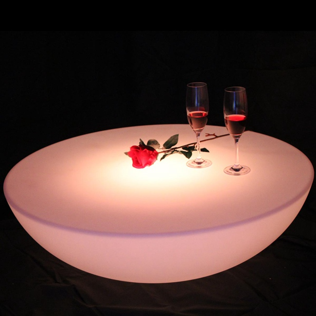 Colorful outdoor bar table set led plastic furniture battery round table SK LF17 (D60*H20cm) Free Shipping