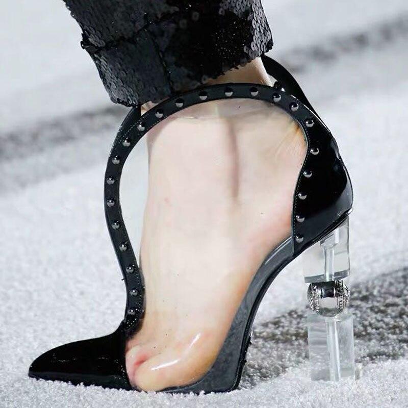 rot Ankunft Seltsame Mode Frauen Heel Raum Spitz Neue freier High 2019 Martin Transparent Schwarzes Stiefel Frau Pvc Stiefeletten w7F5YCqT