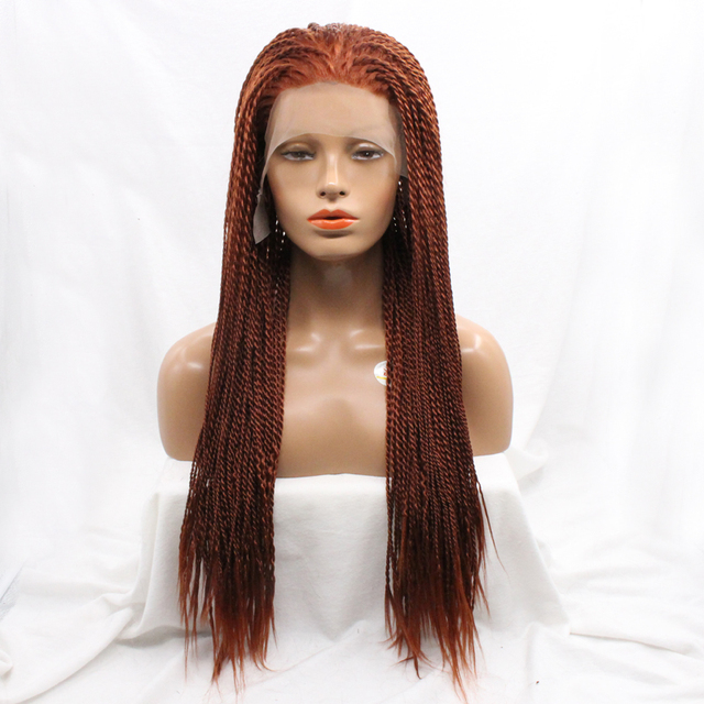 Heat Resistant Synthetic Hair 20inch Long Micro Braided Lace Front Wigs Glueless For African Americans