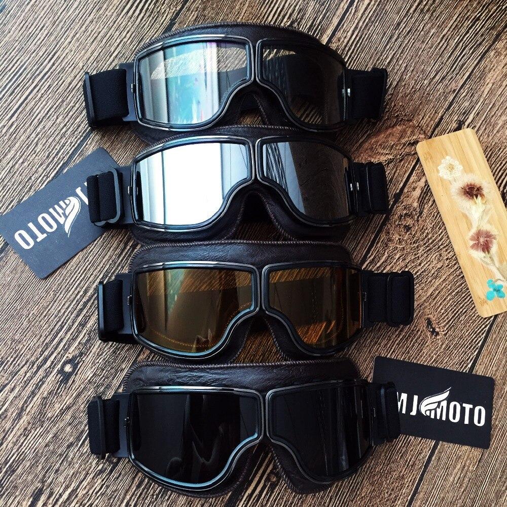 MJMOTO Vintage Motorcycle goggles Moto glasses for Harley helmet Glasses Leather Pilot Locomotive glasses Cruiser Scooter Goggle