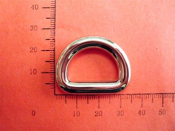 7/8 inch Zinc alloy Nickle D ring for Bag, garment, shoes, bag parts, DIY hardware accessories Handbag Ring Buckle