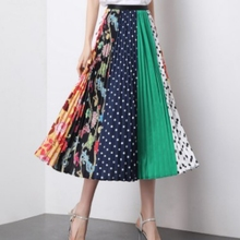 2019 New Plus Size Casual High Waist Skirt Women Fashion Cartoon Print Pleated Summer Long Maxi Femme