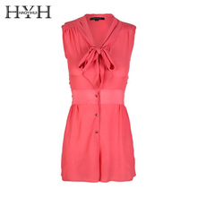 HYH HAOYIHUI Summer Fashion Chiffon Romper Solid Color Sleeveless V-neck Bow Tie Single Button Casual Sweet Style