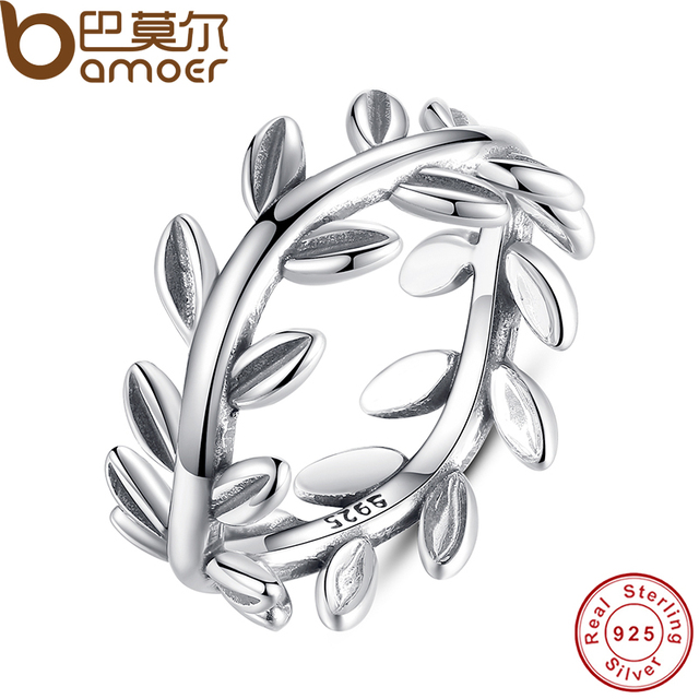 BAMOER New Collection Authentic Laurel Wreath Laurel Leaves Ring 100% Fine 925 S