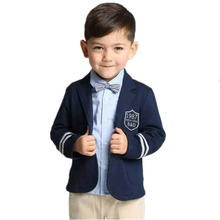 2015 Autumn College Style  Boys Casual Suit Navy Blue Children Coat Two Buckle Baby Boy