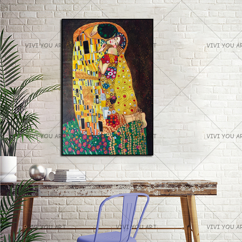 Pintura a mano reproducción oro pintura al óleo sobre lienzo arte de pared hecho a mano Gustav Klimt beso en amor artesanía decorativa - 2