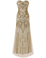 2018 Elegant Wedding Party Dress vestido de festa Vintage 1920S Flapper Sequined Long Evening Prom Gowns Spandex Maxi Dress