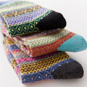 Image 5 - Winter New Products Warm Thicken National Wind Womens Wool Medium Tube  Socks Factory Wholesale 5 Pairs