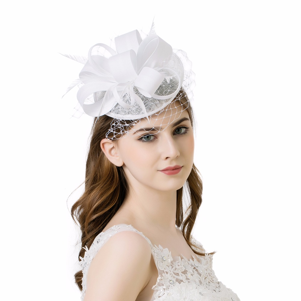 Women Fancy Feather Flower Hats Bridal Hair Accessories for Wedding ...