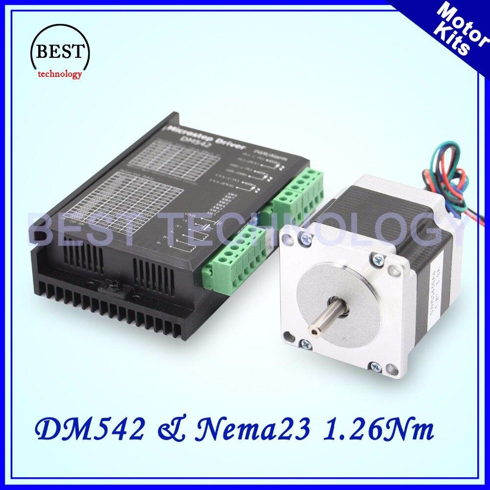 Nema23 stepper motor kits DM542 & Nema23 57x56mm 1.26Nm 6.35mm stepper motor 3A Microstep 256 DC24-50v