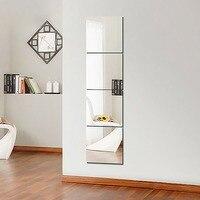 4 шт., декоративные самоклеющиеся 3D зеркальные плитки, настенные наклейки, мозаика, зеркальный эффект, для комнаты, квадратные, сделай сам, до...