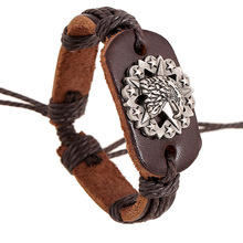 Fashion Leather Alloy Buckles Bracelets Handmade Leather Personality Bangles Punk Braided Wooden Beads Bracelet Unisex Jewelry