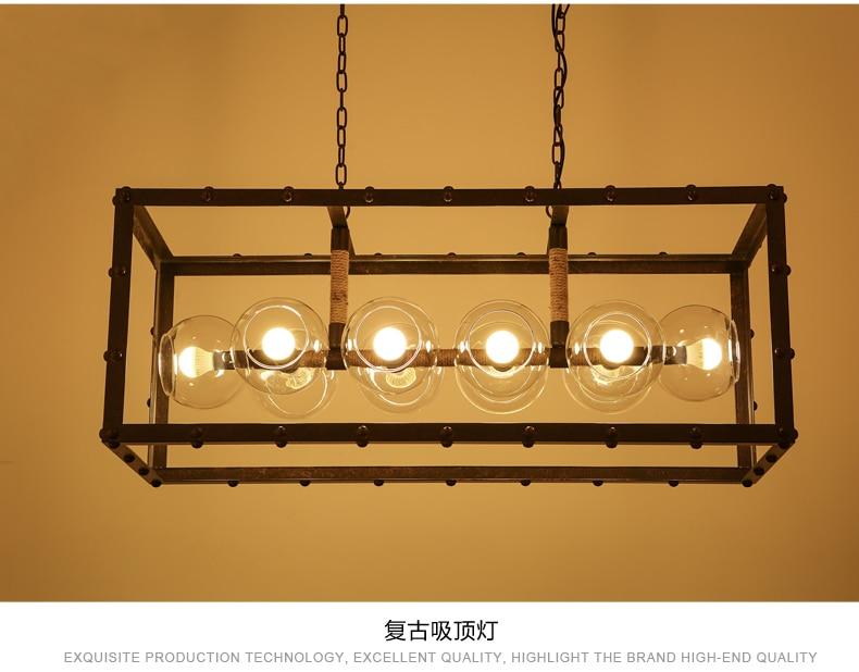 Glass Pendant Light Ball Rectangle Vintage Loft Decor White Lamp Decorative Balls Style Lights Industrial Iron Vintage Decor