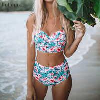 Sexy Floral imprimer taille haute Maillot de Bain 2019 Bikini Push Up maillots de Bain femmes Vintage Biquini Maillot de Bain Femme XXL