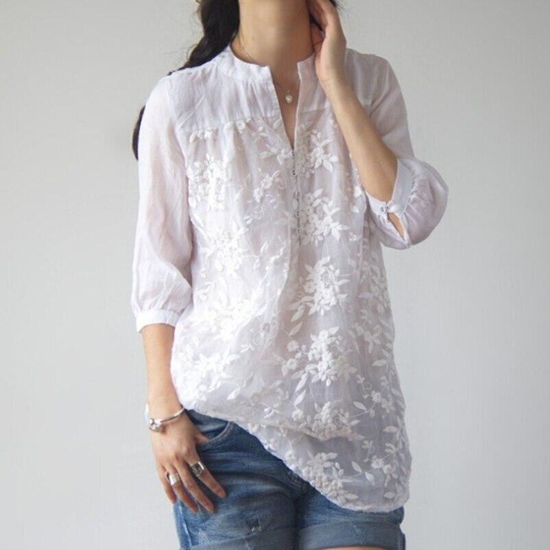 Spring Summer Half Sleeve Organza Cotton Linen Women White