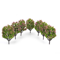 High Quality Plastic Model Trees With Fuchsia Flowers For Railroad Scenery 1 150 10pcs Miniatures Tree