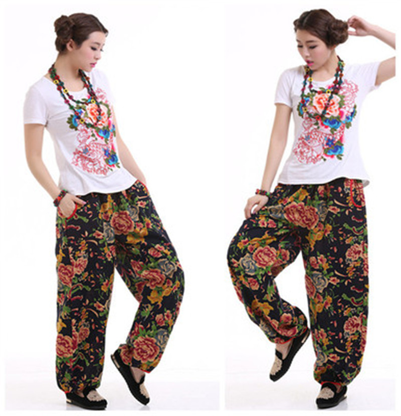 Fashion Vintage Plus Size 4XL Harajuku Indie Folk Cotton Linen Women Trousers Loose Print Ethnic Capris Wide Leg Pants Ladies