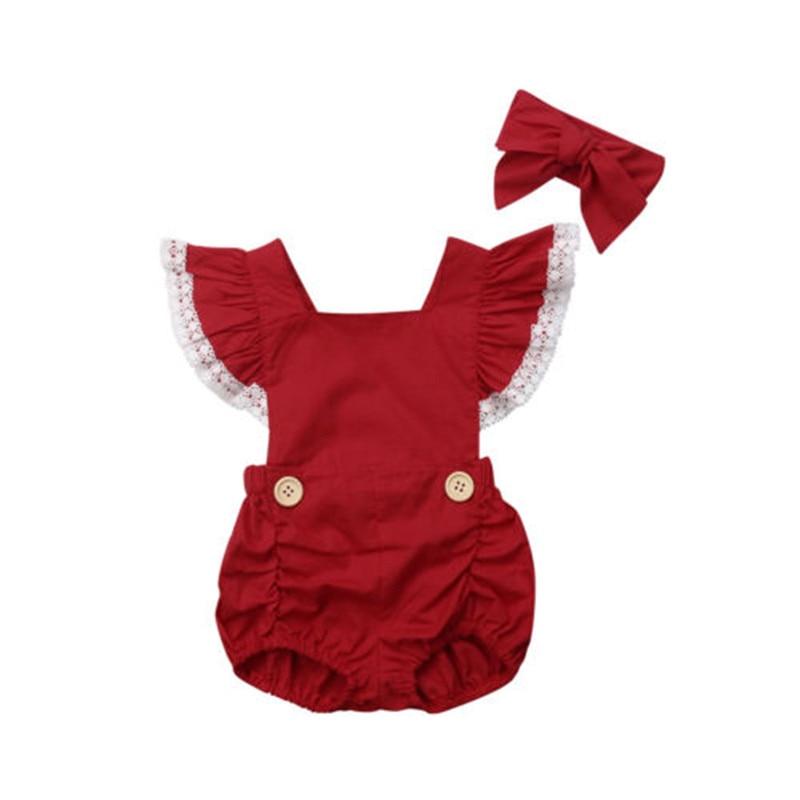 Для новорожденных девочек Однотонная одежда оборками рукав заставку Рождество из 2 предметов комплект боди Детские комбинезоны комбинезон